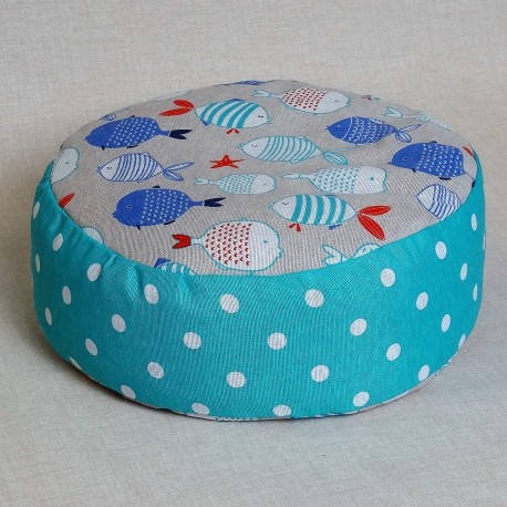 Pohánkový meditačný sedák 38 x 15 cm rybičky / tyrkysový puntík