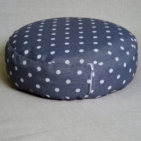 Pohankový meditační sedák 38 x 10 cm šedý puntík
