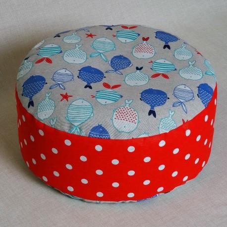 Pohánkový meditačný sedák 38 x 10 cm rybičky / červený puntík